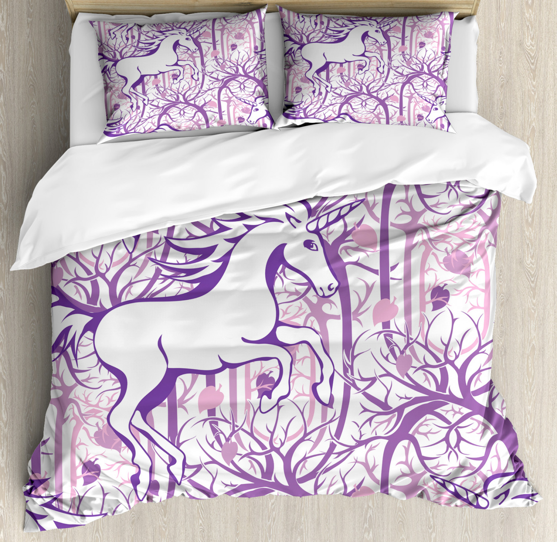 Unicorn Duvet Cover Set With Pillow Shams Magic Fairytale Forest