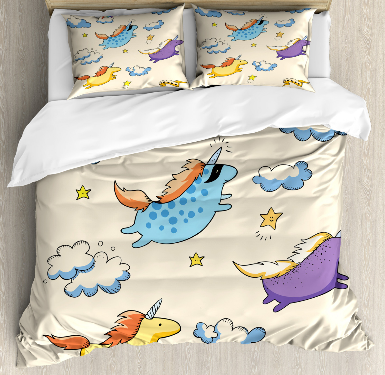 Unicorn Duvet Cover Set with Pillow Shams Pastel Flying Pony Art Print