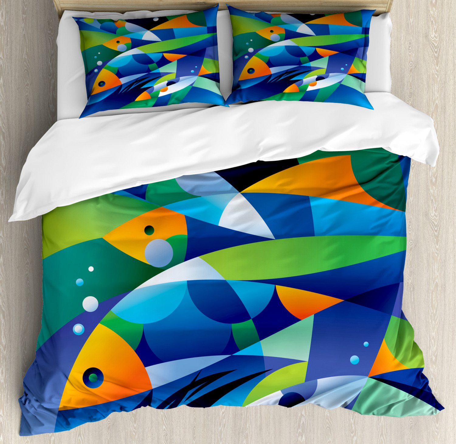 Abstract Art Duvet Cover Set with Pillow Shams Fishes Underw