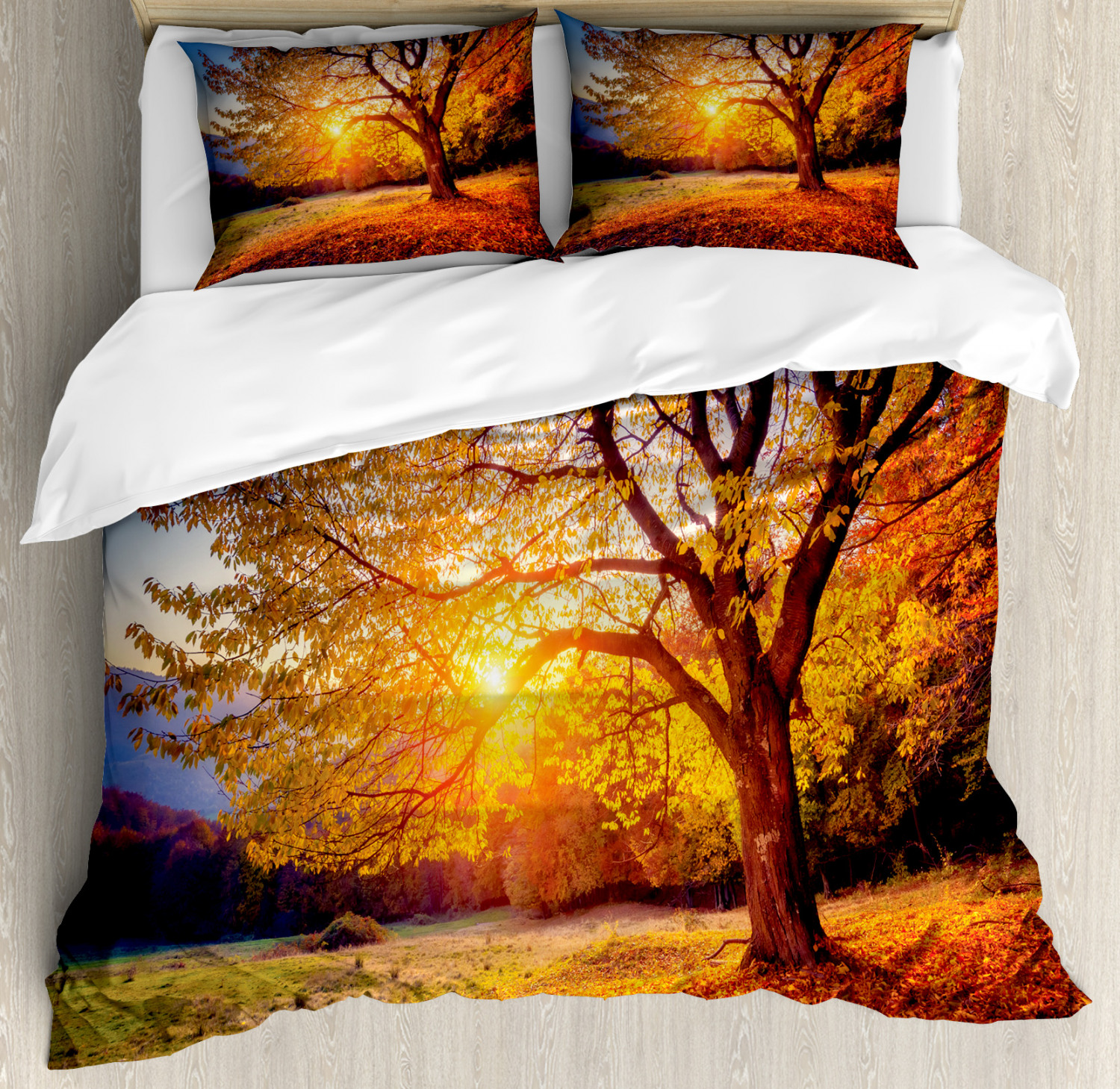 Brown Duvet Cover Set with Pillow Shams Autumn Fall Tree Lea
