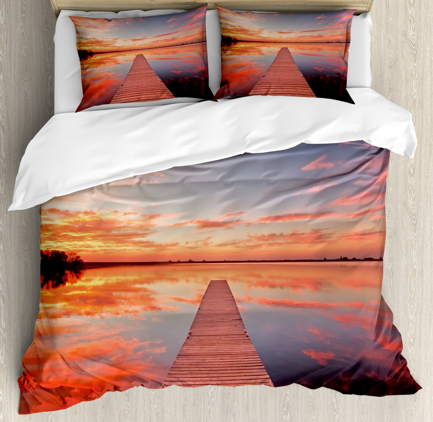 Nature Duvet Cover Set with Pillow Shams Pathway Sunset at Ocean Print