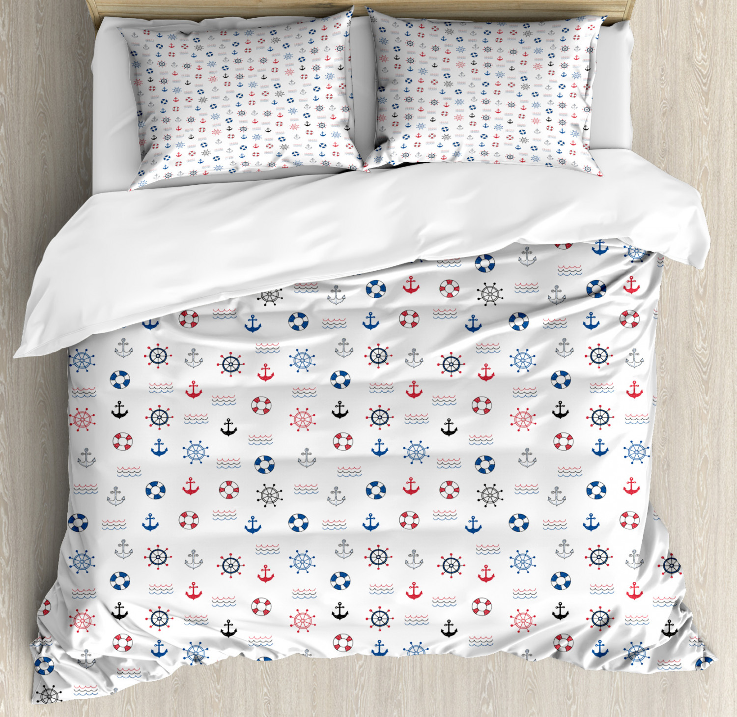 Anchor Duvet Cover Set with Pillow Shams Marine Nautical Wheel Print
