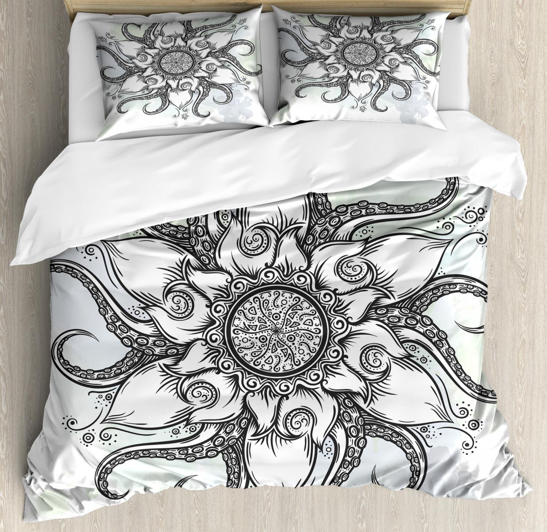 Octopus Duvet Cover Set with Pillow Shams Drawn Mandala Flower Print