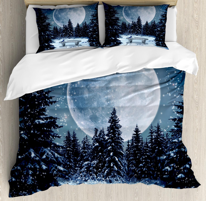 bianca Duvet Cover Set with Pillow Shams Moonlight Forest Bird Print