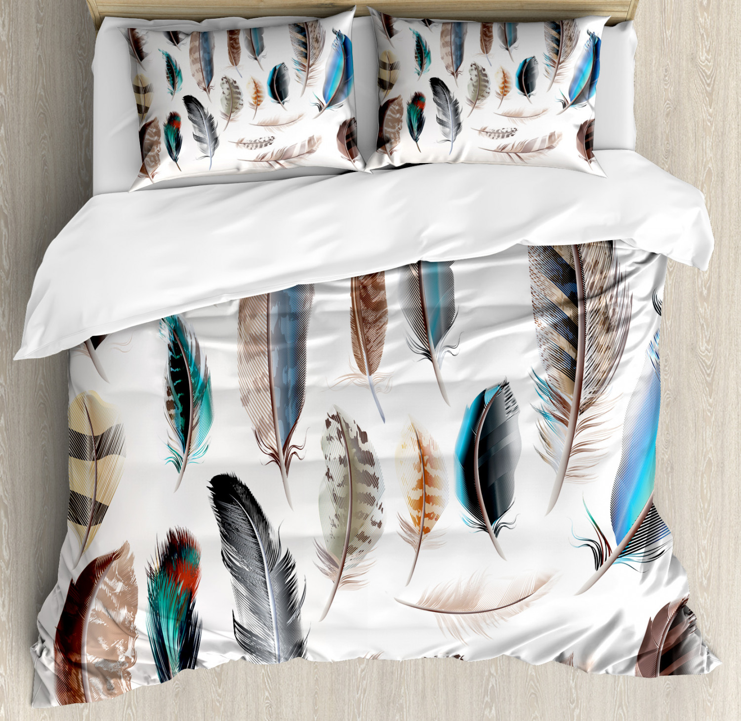Animal Duvet Cover Set with Pillow Shams Bird Body Feathers