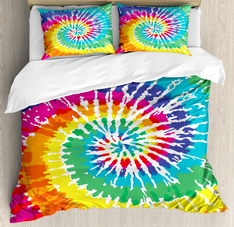 Fabric Duvet Cover Set with Pillow Shams Rainbow Tie Dye Gru
