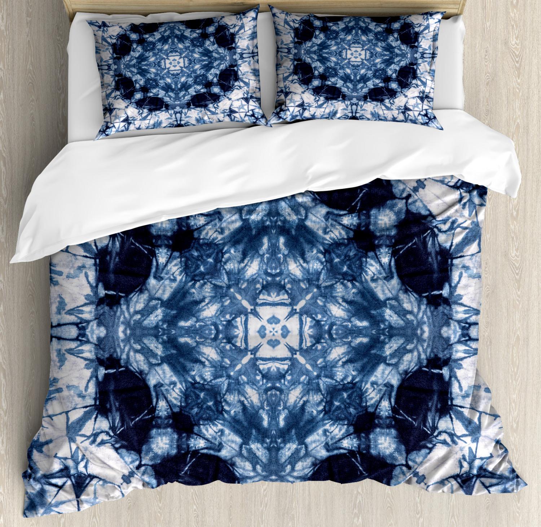 Indigo Paisley Duvet Cover Set with Pillow Shams Tie Dye Hip