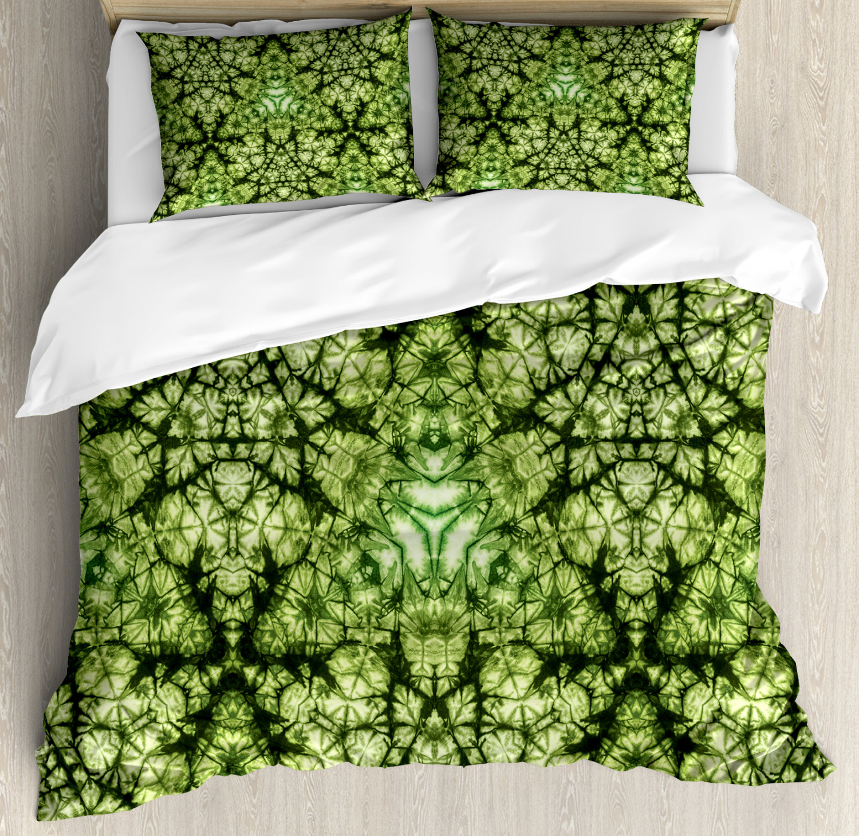 Green Duvet Cover Set with Pillow Shams Tie Dye Bohemian Art
