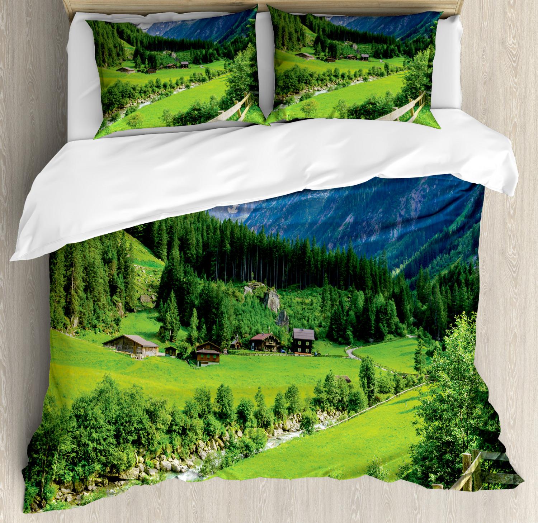 Nature Duvet Cover Set with Pillow Shams Alpine Scenery Pastoral Print