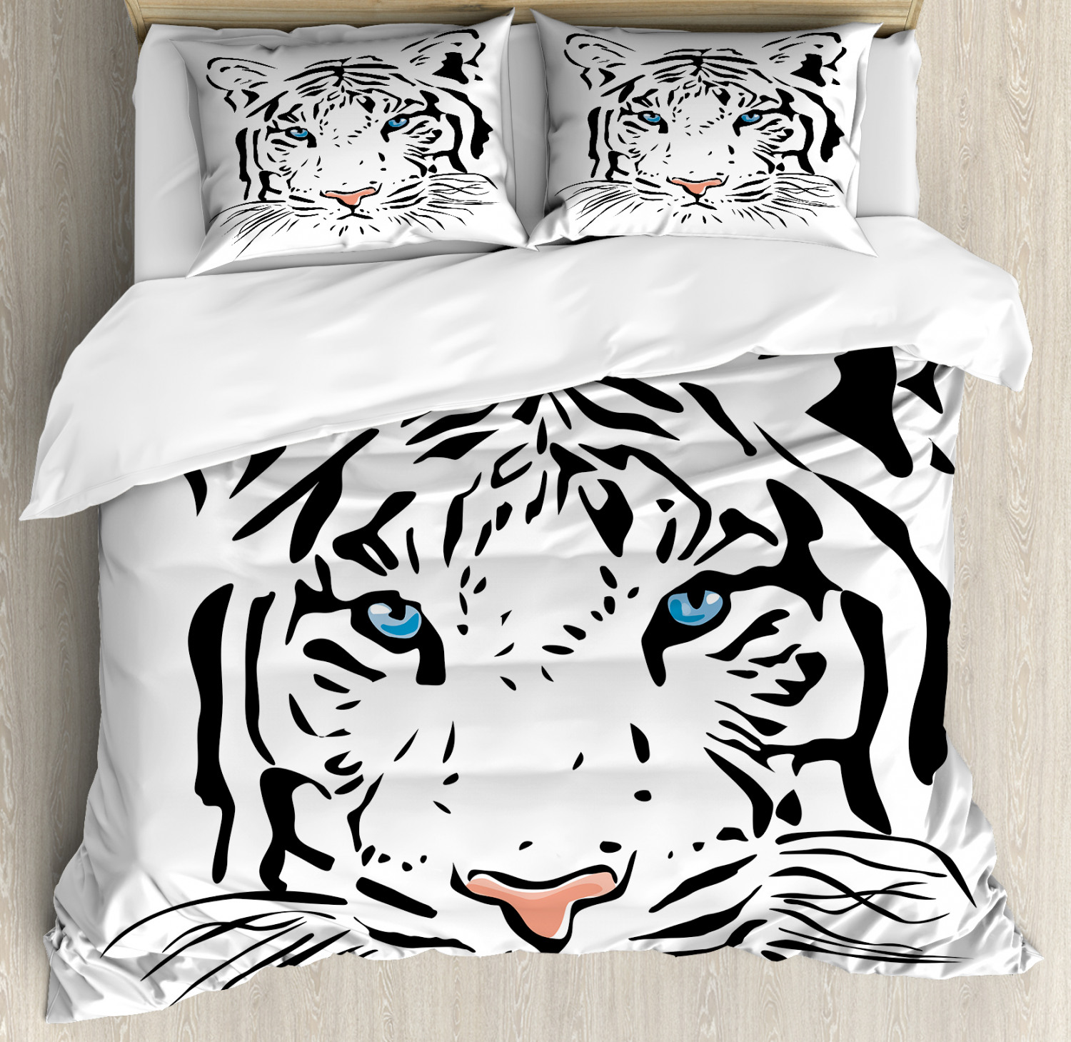 Tattoo Duvet Cover Set with Pillow Shams Tiger Ocean bluee Eyes Print