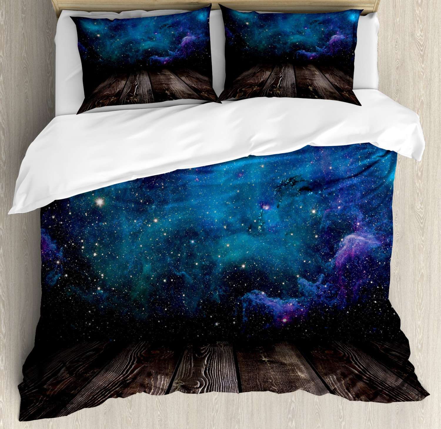 Galaxy Duvet Cover Set with Pillow Shams Space from Home View Print