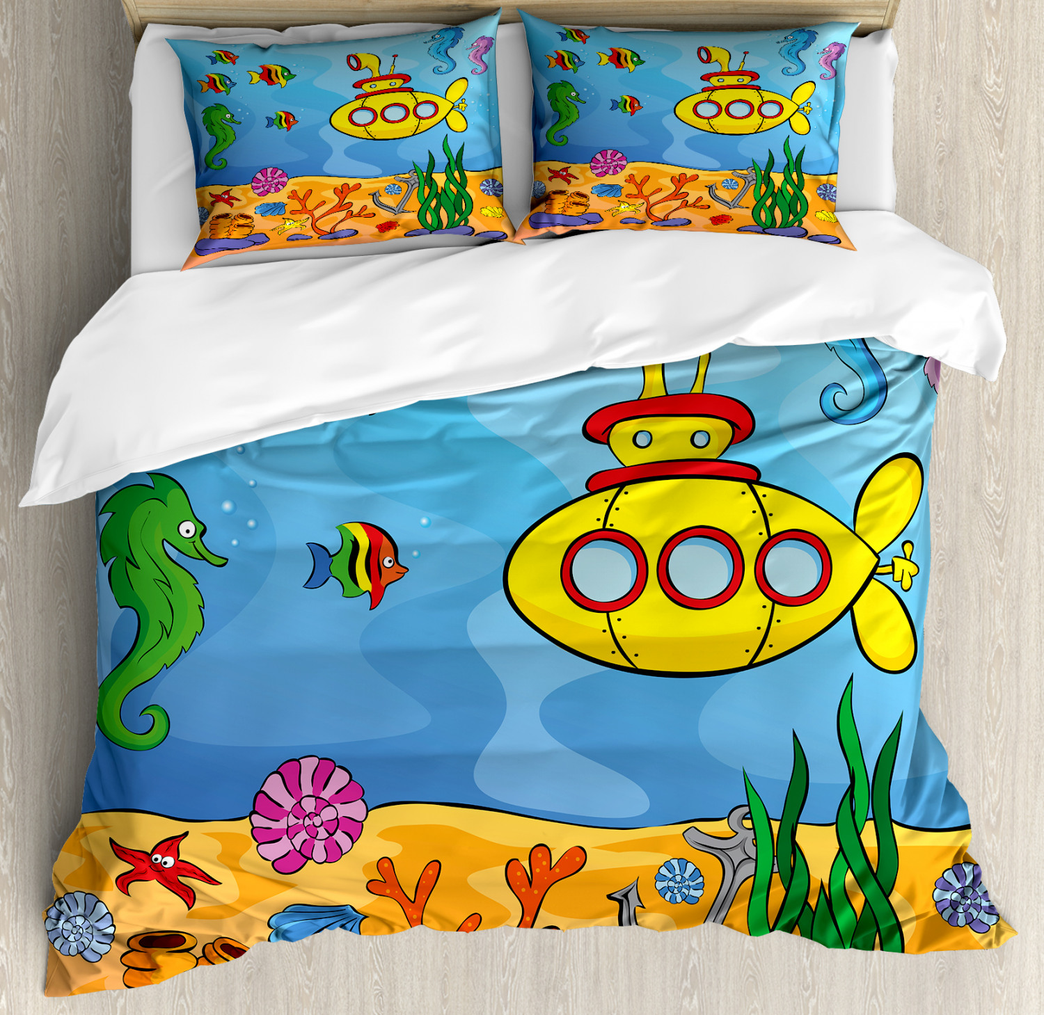giallo Submarine Duvet Cover Set with Pillow Shams Submarine Seahorse Print