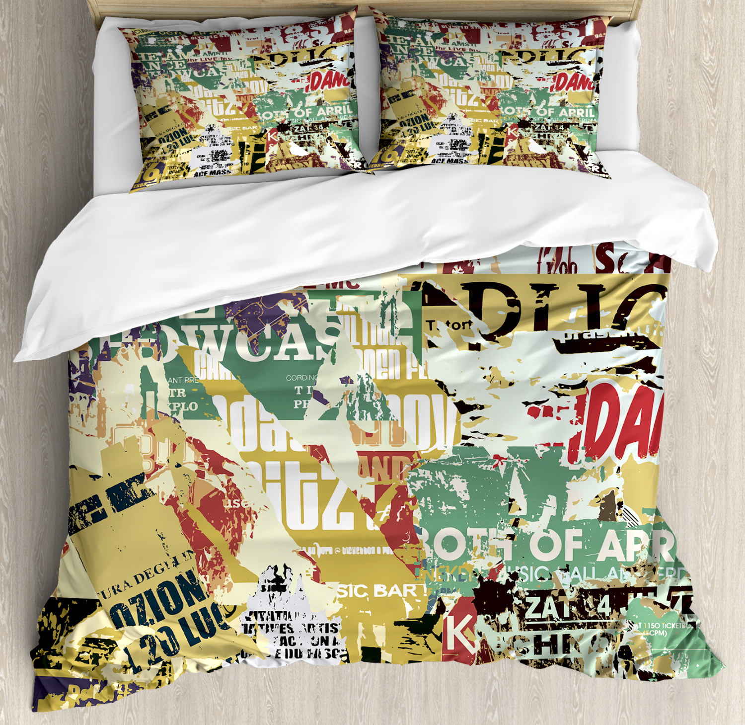 Retro Duvet Cover Set with Pillow Shams Old Torn Posters Collage Print