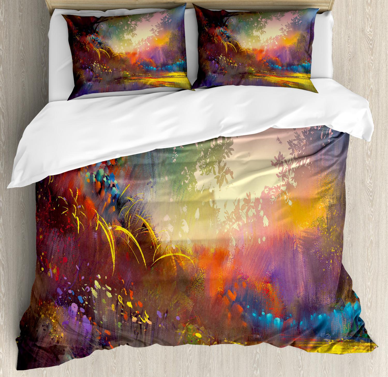 Nature Duvet Cover Set with Pillow Shams Magical Lake Art Brush Print