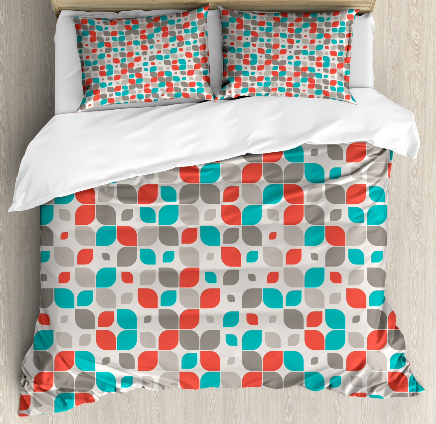 Traditional Duvet Cover Set with Pillow Shams Retro Mosaic Motif Print