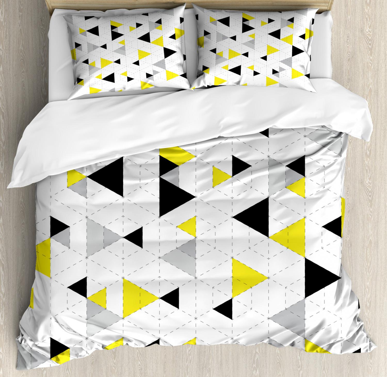 Geometric Duvet Cover Set with Pillow Shams Diamond Motives Mosaic Print