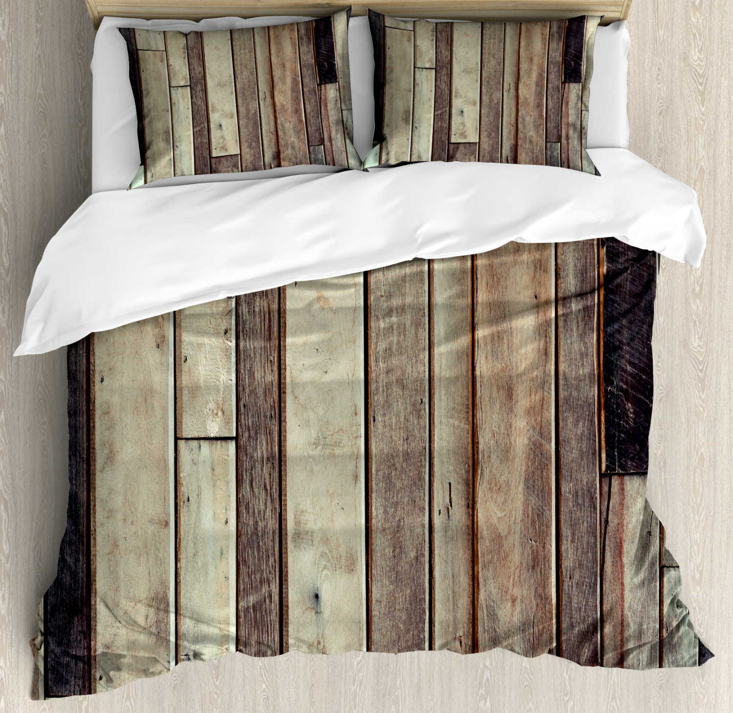 Wooden Duvet Cover Set with Pillow Shams American Western Style Print