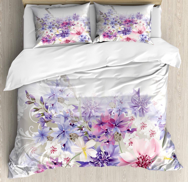 Lavender Duvet Cover Set with Pillow Shams Pink Purple Flowe