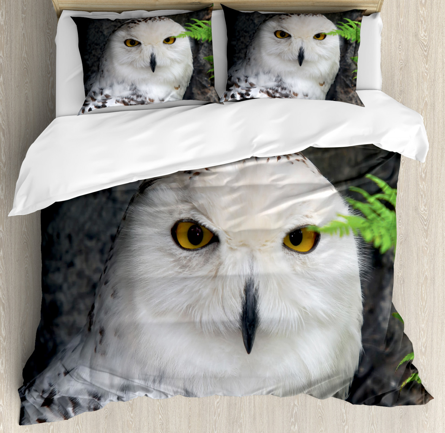 Wizard Duvet Cover Set with Pillow Shams Magician Pet White Owl Print