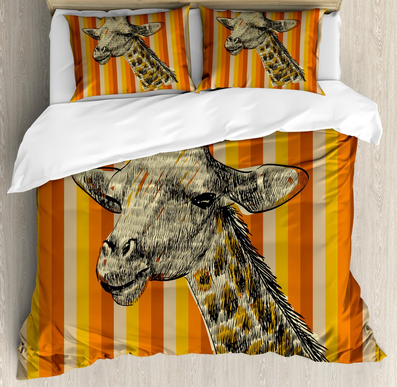 Girafe Housse De Couette Avec Oreiller Shams Hipster Africain Imprimé Animal
