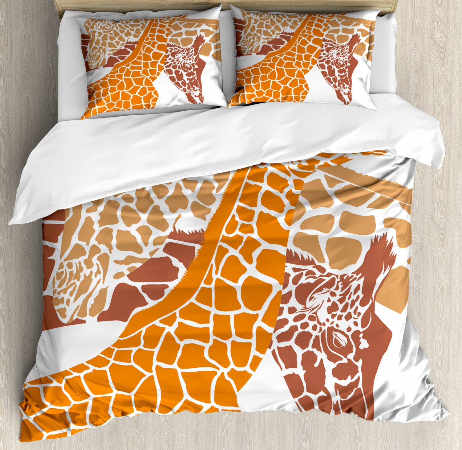 Giraffe Duvet Cover Set with Pillow Shams Wildlife in Africa Print