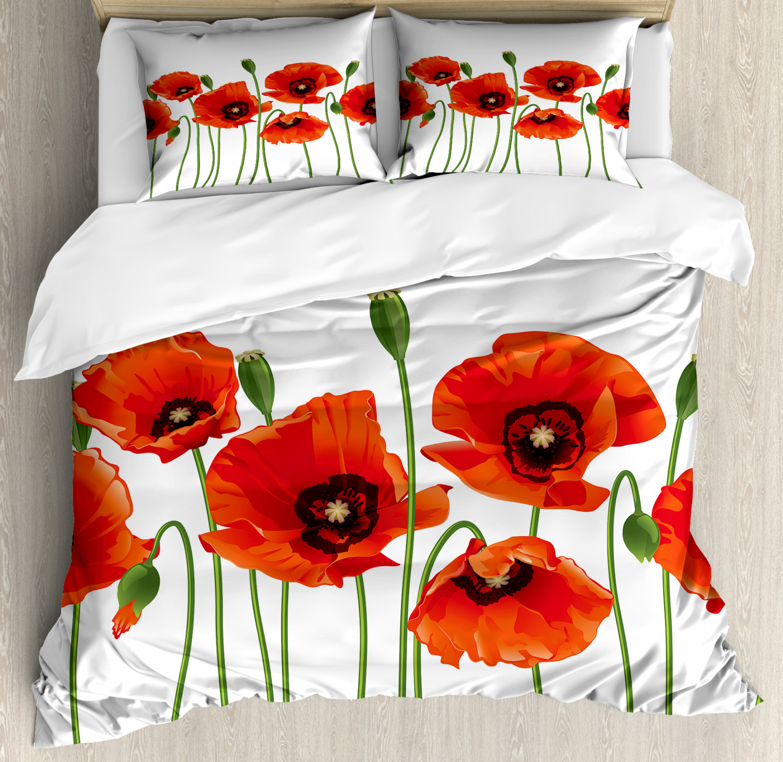 Floral Duvet Cover Set with Pillow Shams Pastoral Flowers Botany Print