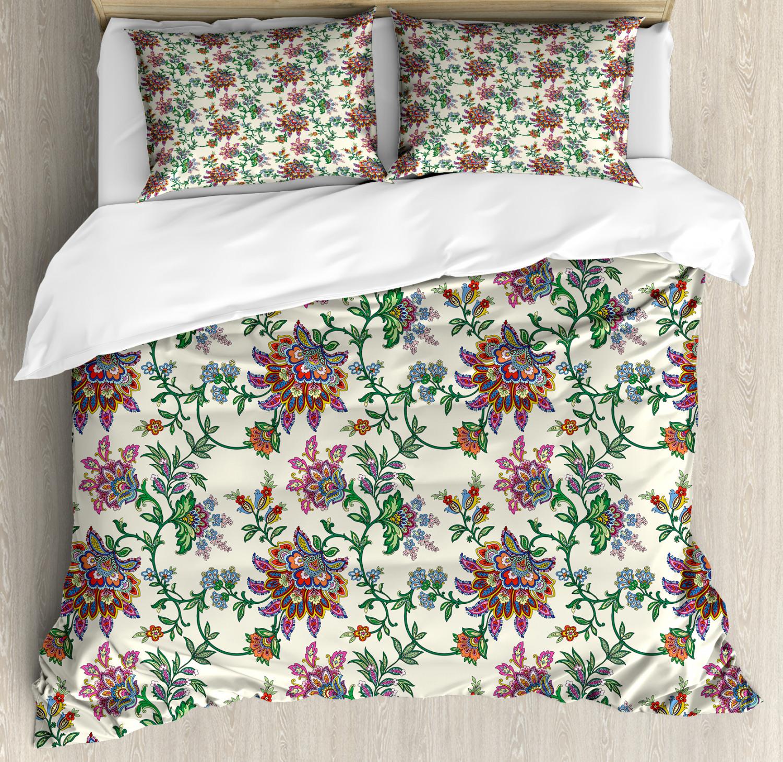 Bohemian Duvet Cover Set with Pillow Shams Coloreeful Ethnic Flowers Print