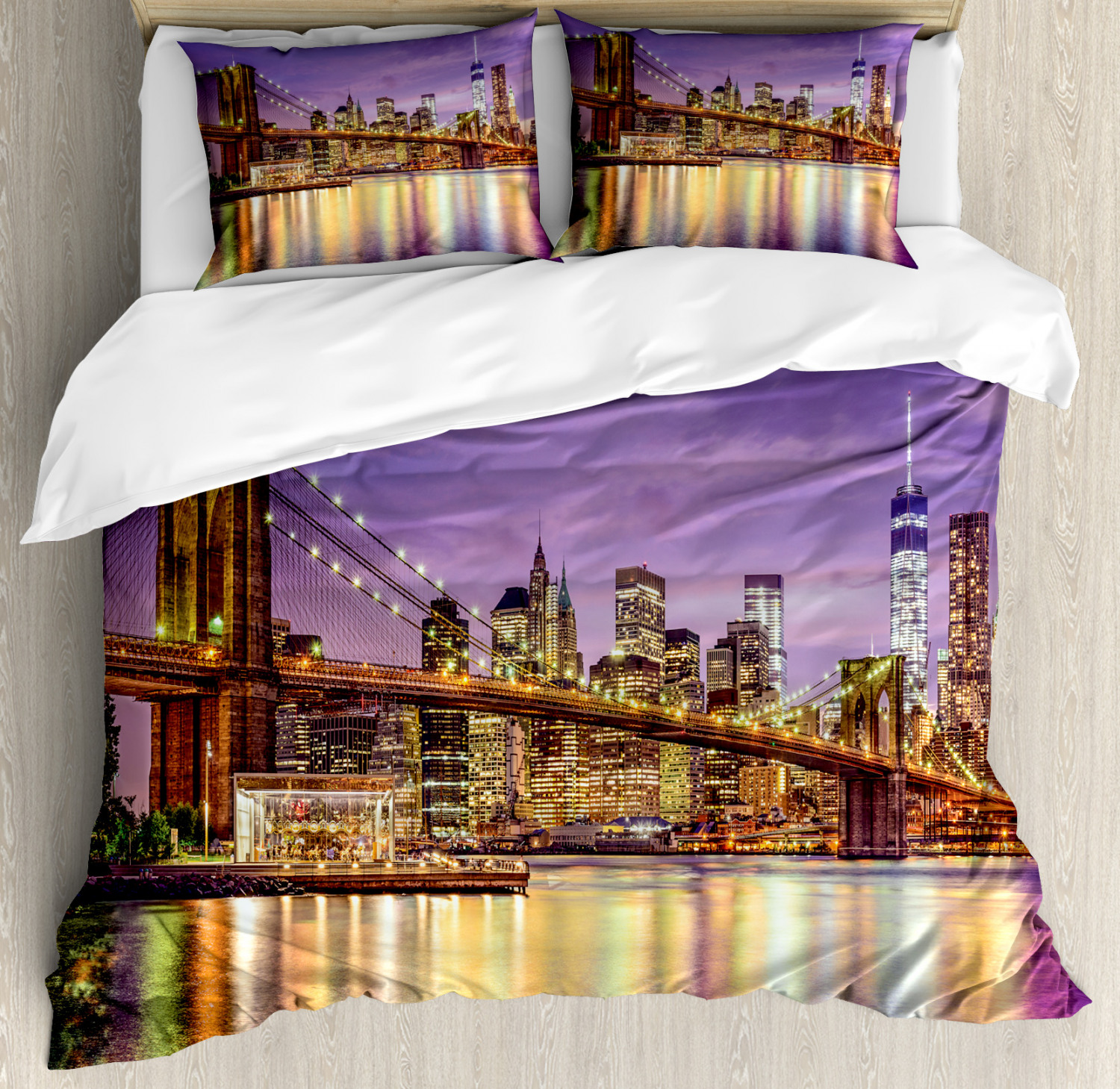 Citylife Duvet Cover Set with Pillow Shams Broadway Scenery NYC Print