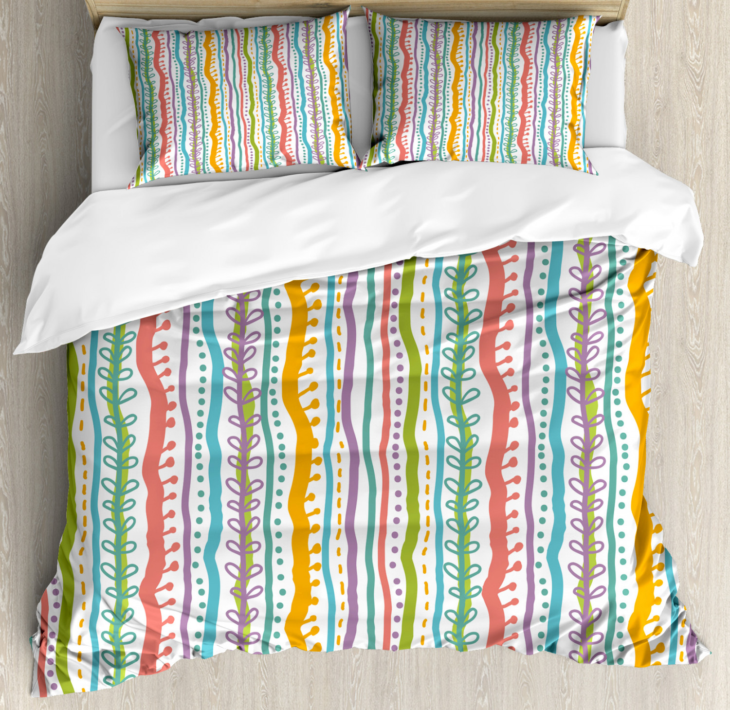 Abstract Duvet Cover Set with Pillow Shams verdeical Swirl Lines Print