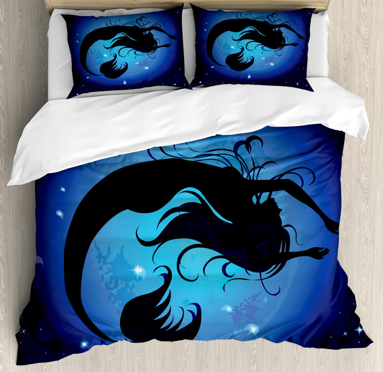 Ocean Duvet Cover Set with Pillow Shams Aquatic Girl Mermaid Print