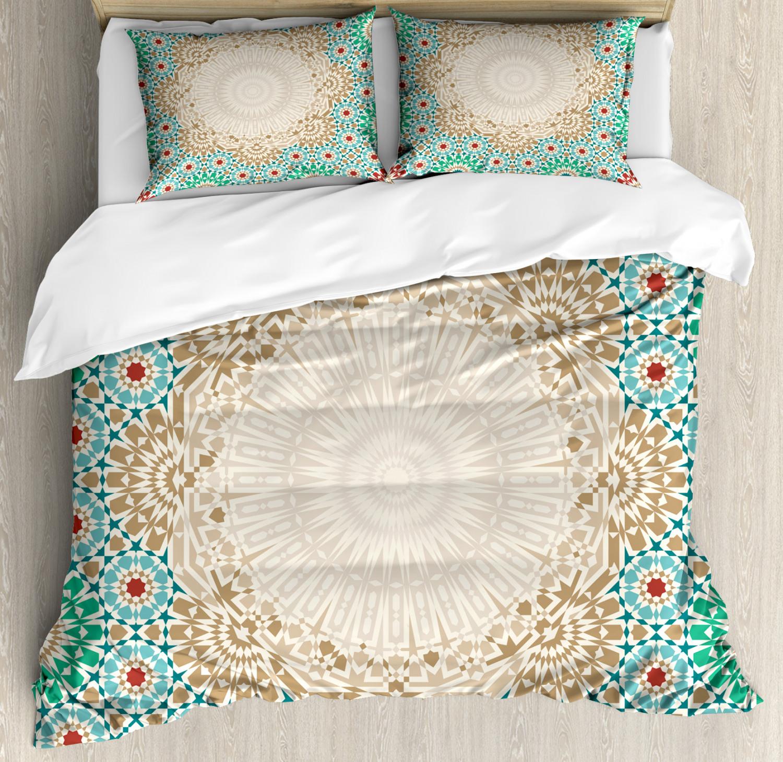 Boho Duvet Cover Set with Pillow Shams Antique Floral Mosaic Form Print
