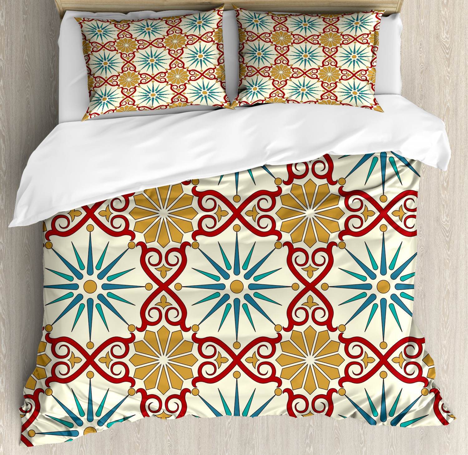 Classic Duvet Cover Set with Pillow Shams Sacred Geometric Forms Print