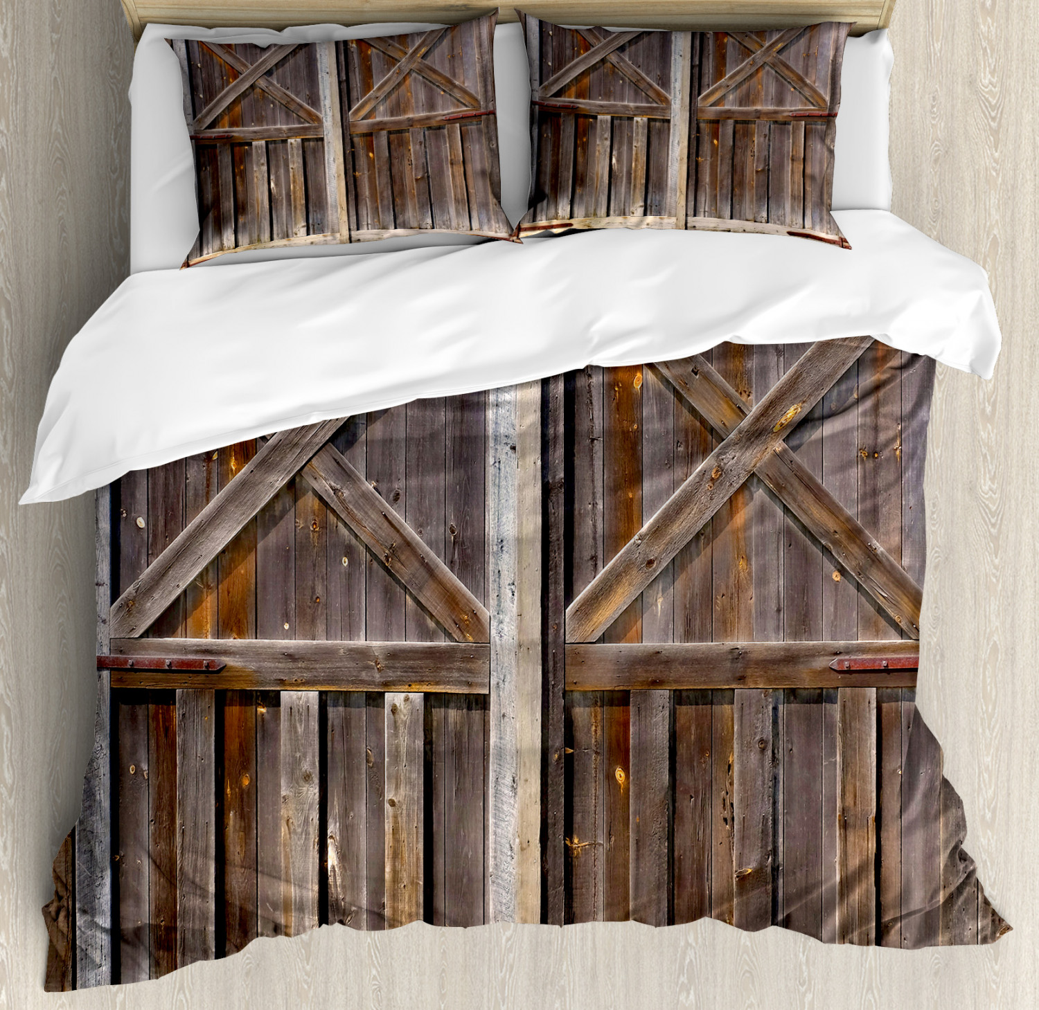 Rustic Duvet Cover Set with Pillow Shams Old Wooden Warehouse Print