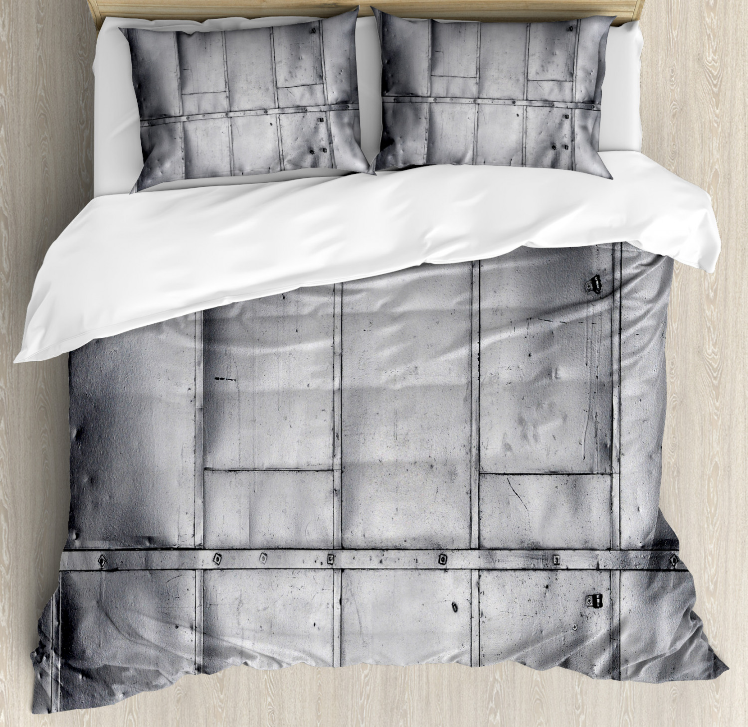 Industrial Duvet Cover Set with Pillow Shams Futuristic Panels Print