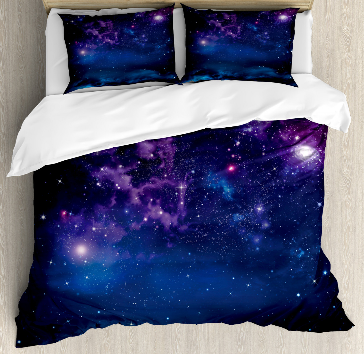 Space Duvet Cover Set with Pillow Shams Milky Way Themed Stars Print