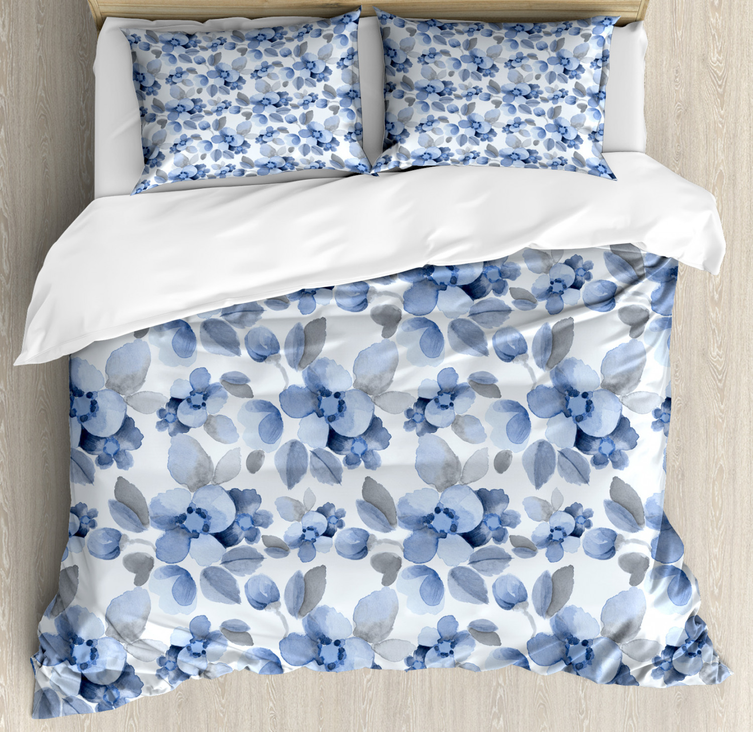 Romance Duvet Cover Set with Pillow Shams Paintbrush Camelia Leaf Print