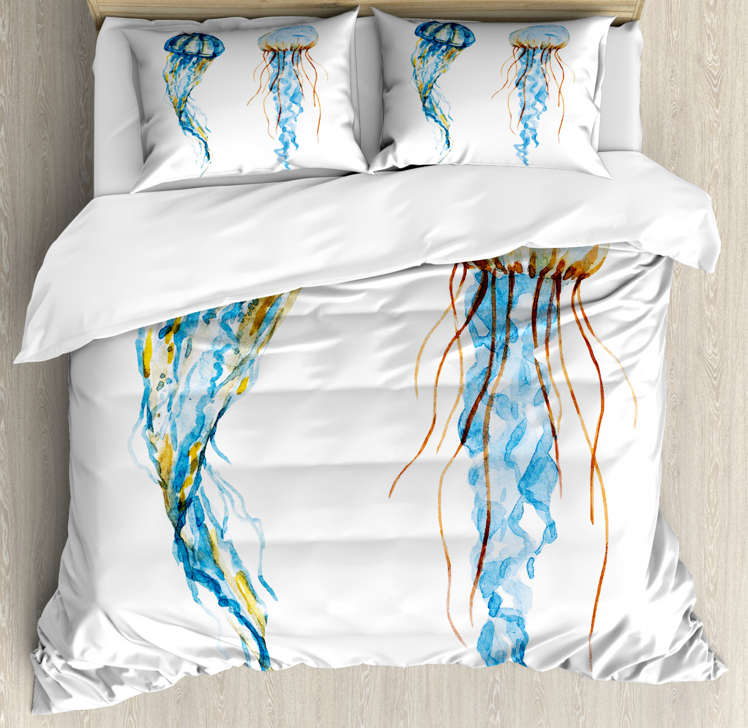 Nautical Duvet Cover Set with Pillow Shams Jellyfish Exotic Sea Print