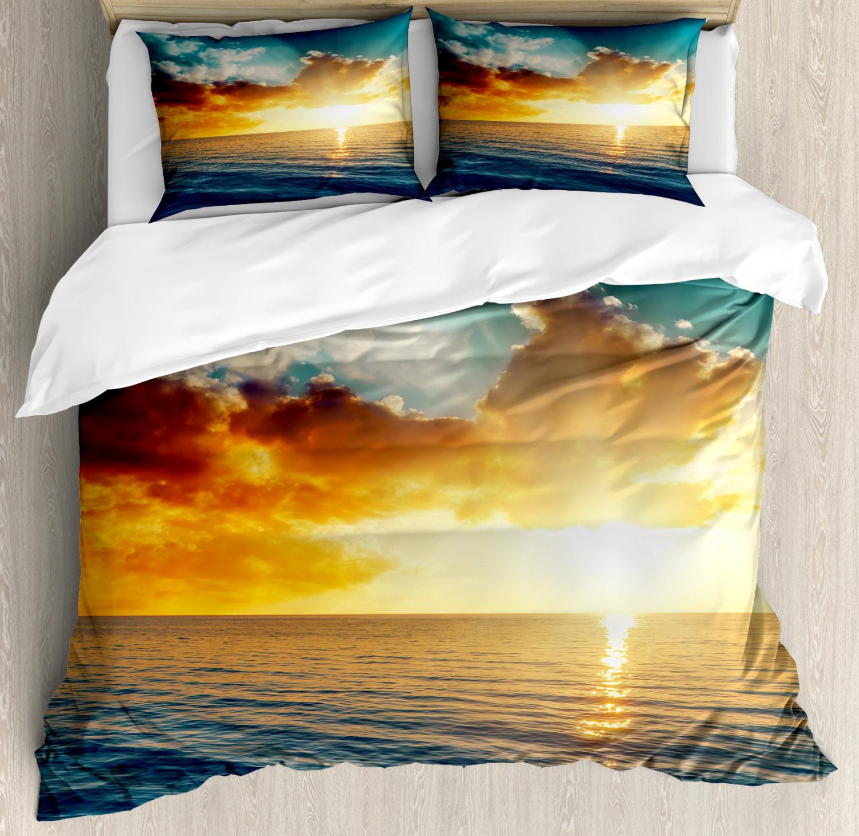 Sunset Duvet Cover Set with Pillow Shams Magical Horizon Panorama Print
