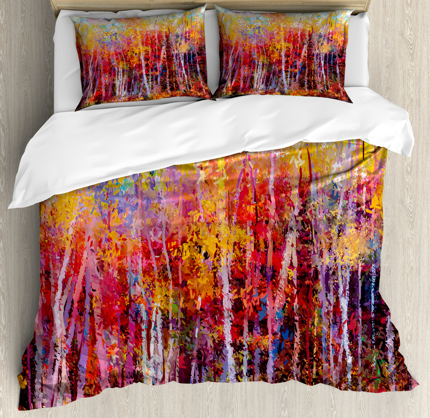 Nature Duvet Cover Set with Pillow Shams Autumn Forest Painting Print