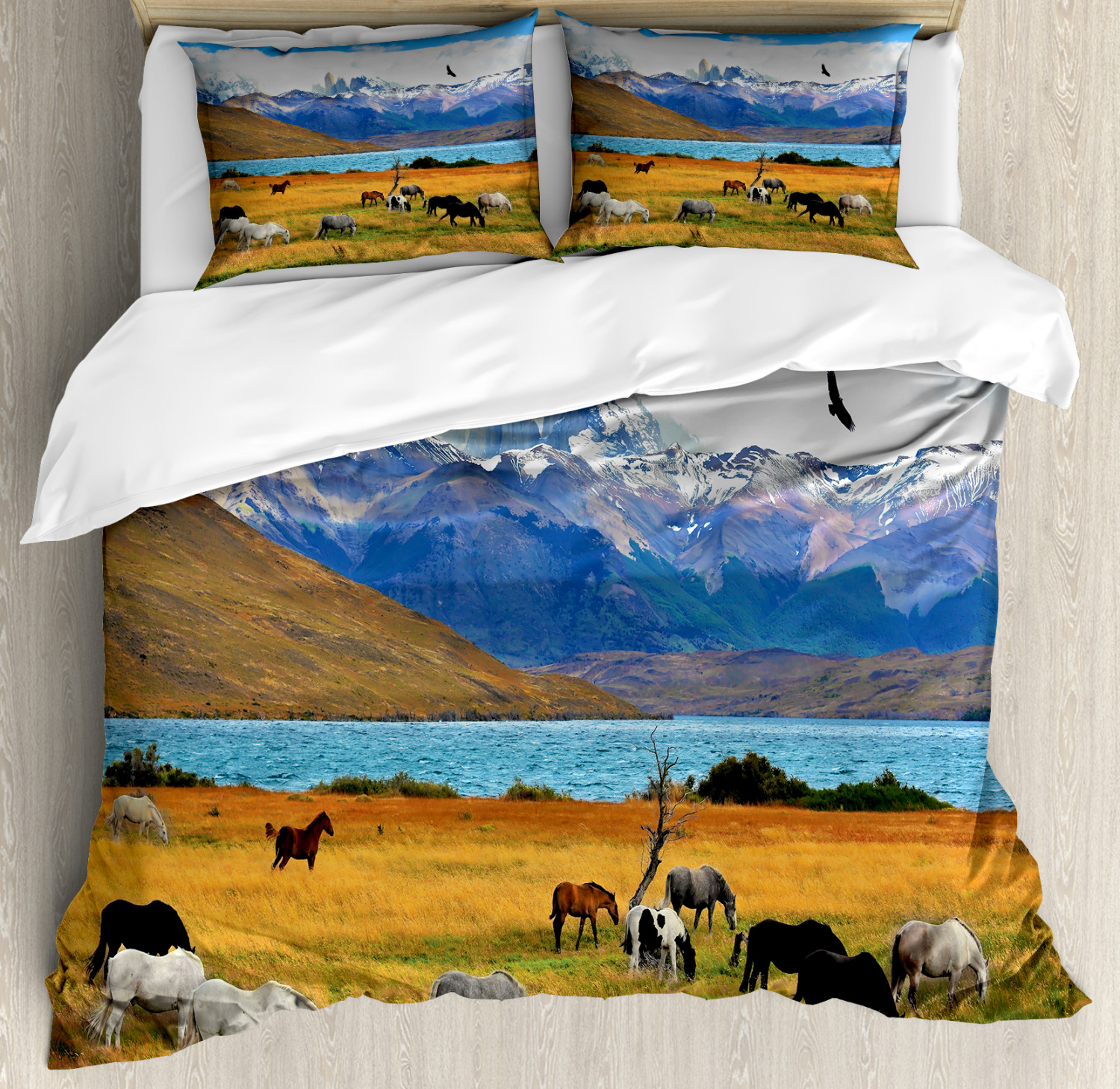 Scenery Duvet Cover Set with Pillow Shams Farm Horse in Mountain Print