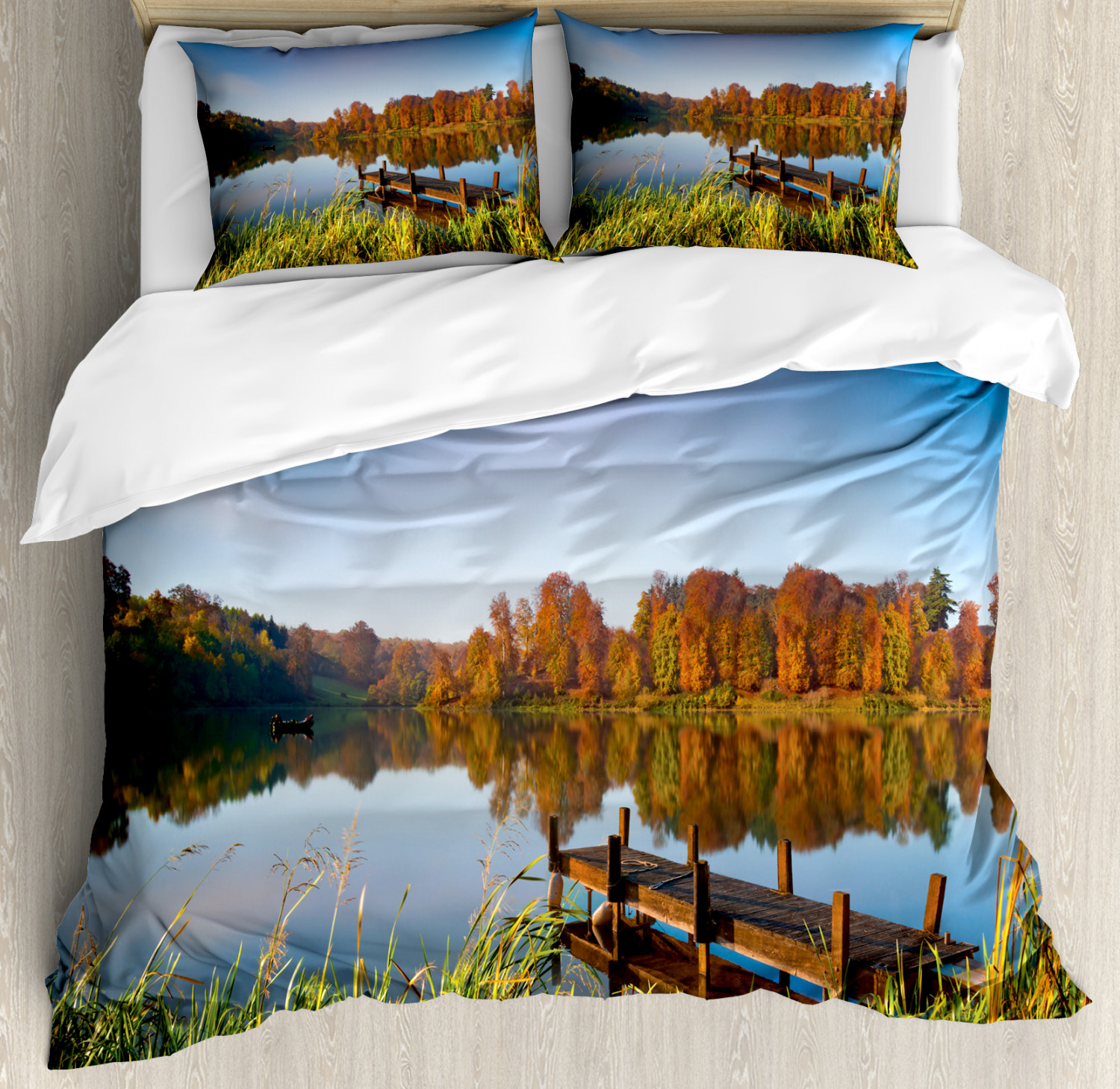 Scenery Duvet Cover Set with Pillow Shams Fishing on a Lake View Print
