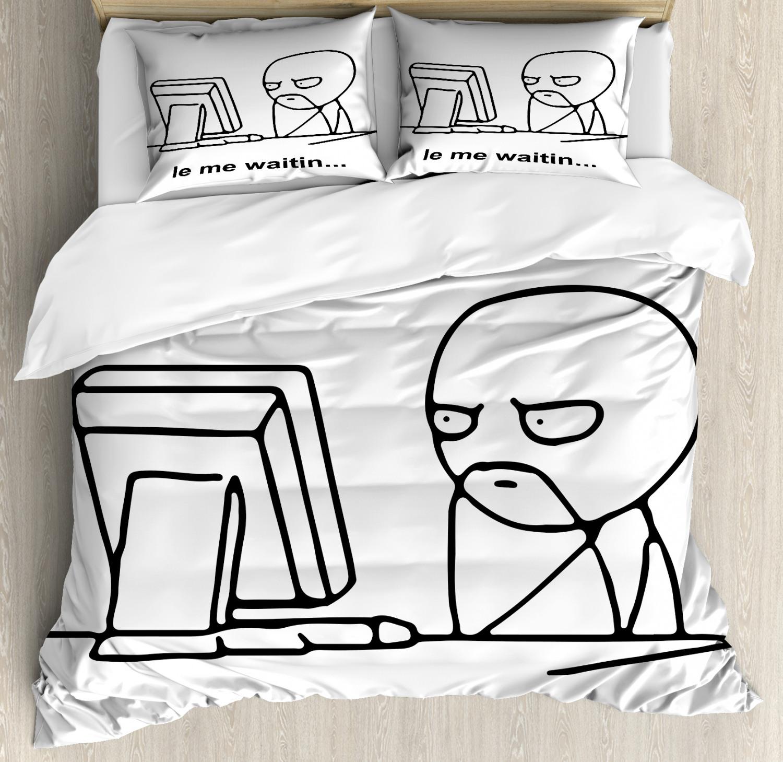 Humor Duvet Cover Set with Pillow Shams Fun Comics Meme Face Print