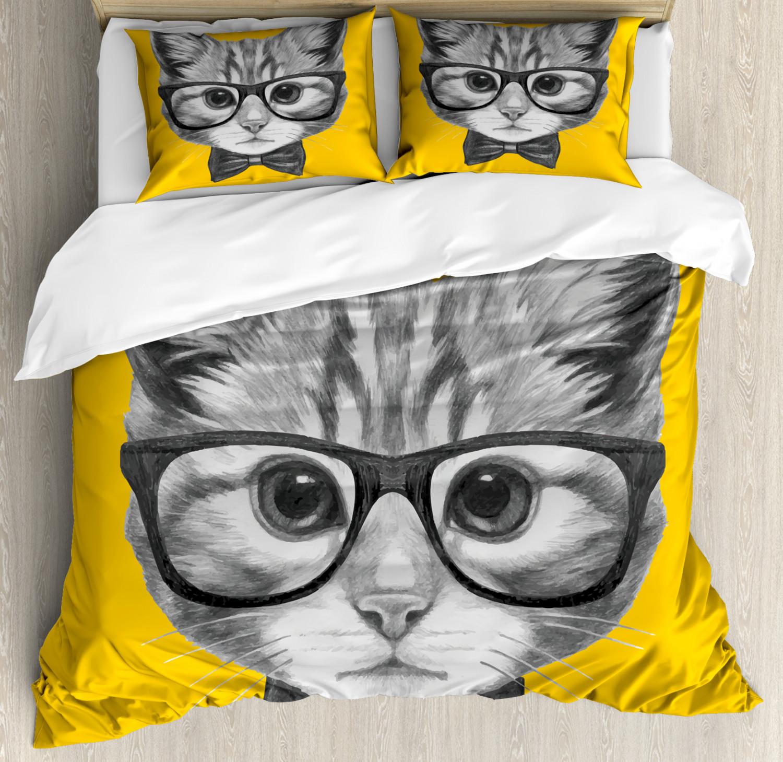 Animal Duvet Cover Set with Pillow Shams Baby Hipster Kitten Cat Print