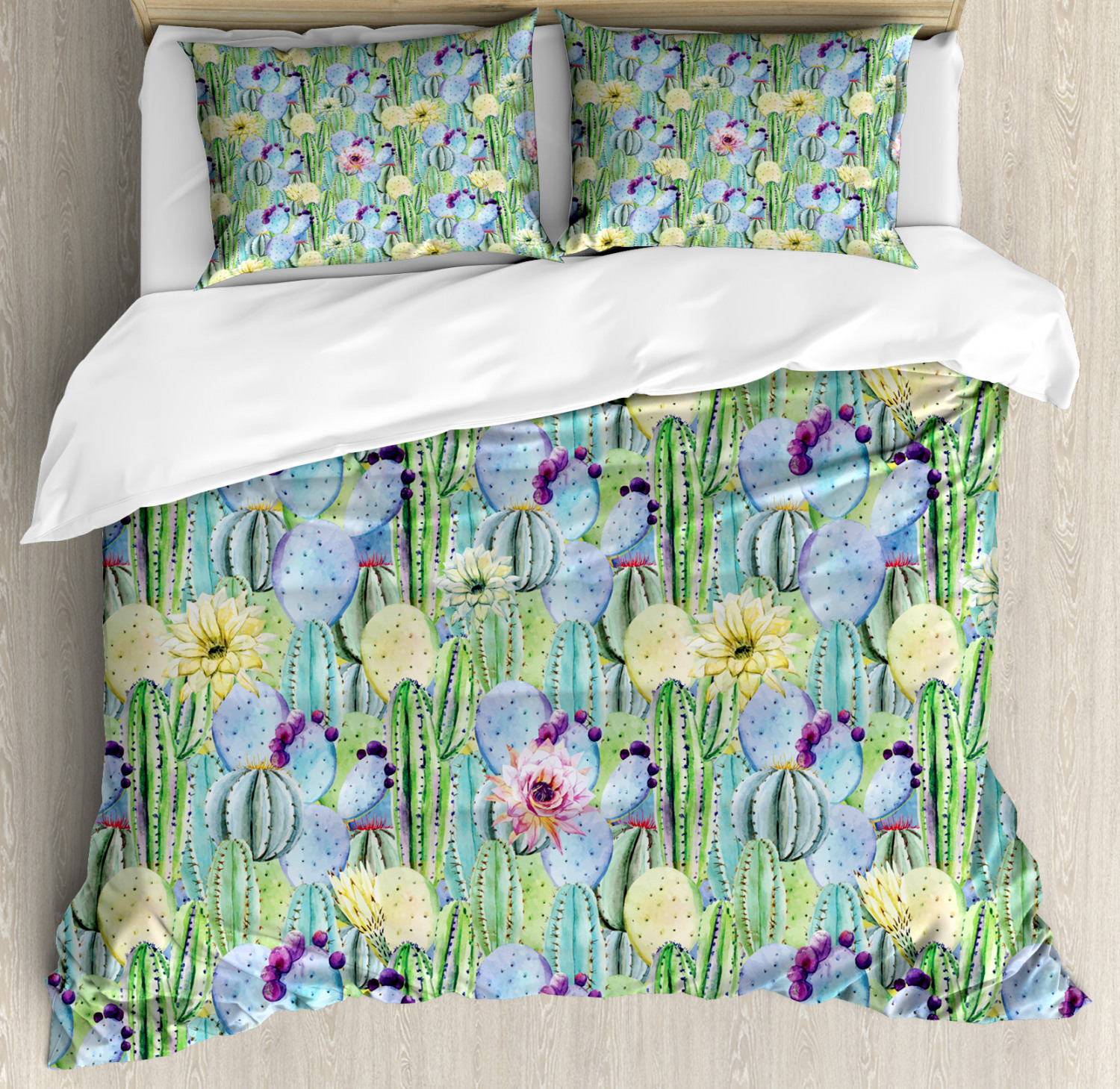 Plant Duvet Cover Set with Pillow Shams Cactus Buds Types Pattern Print