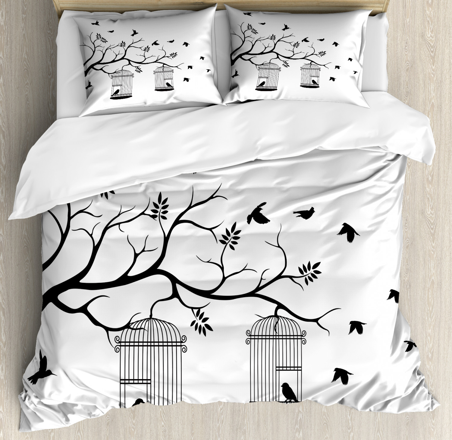 Romantic Duvet Cover Set with Pillow Shams Birds Flying to C