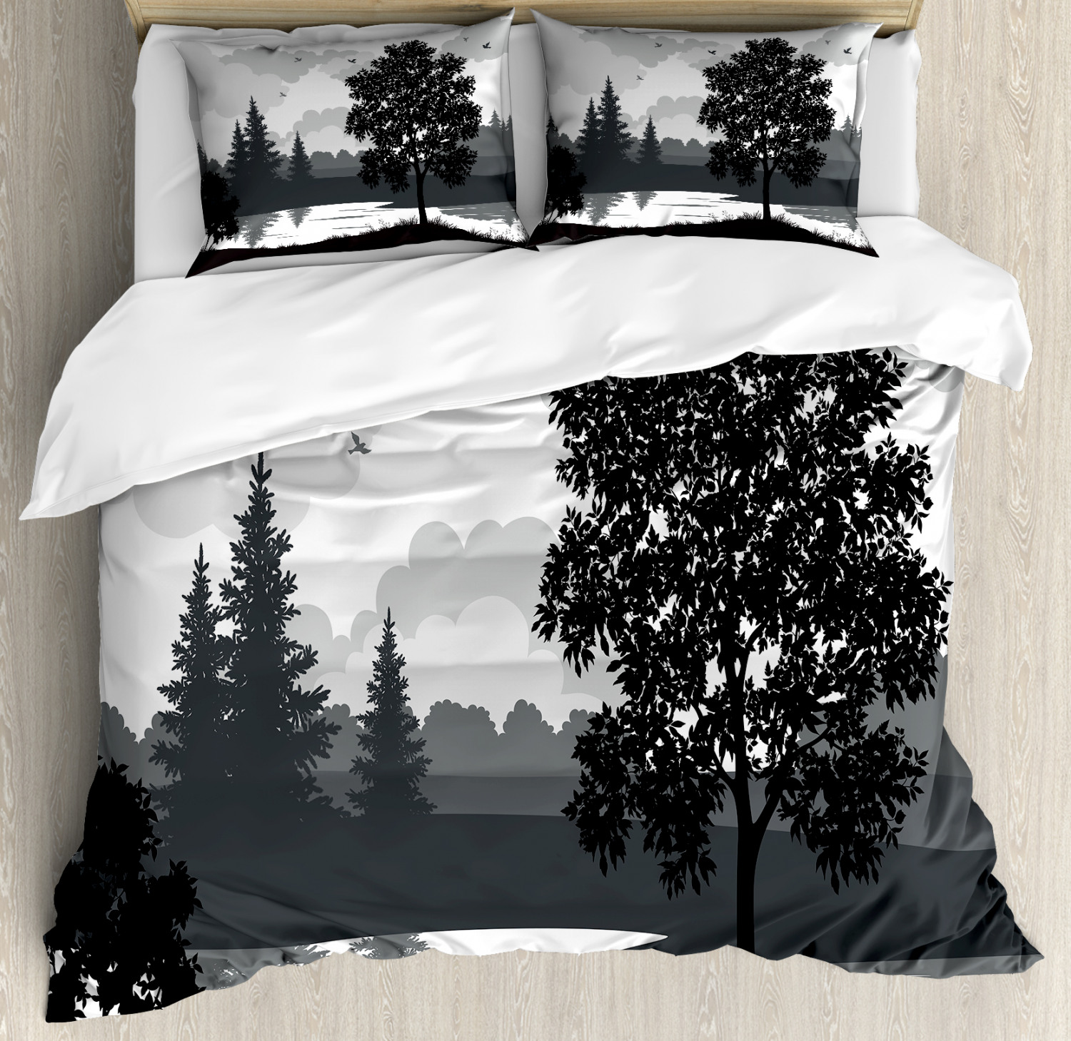 Scenery Duvet Cover Set with Pillow Shams Trees Birds Cloudy Sky Print