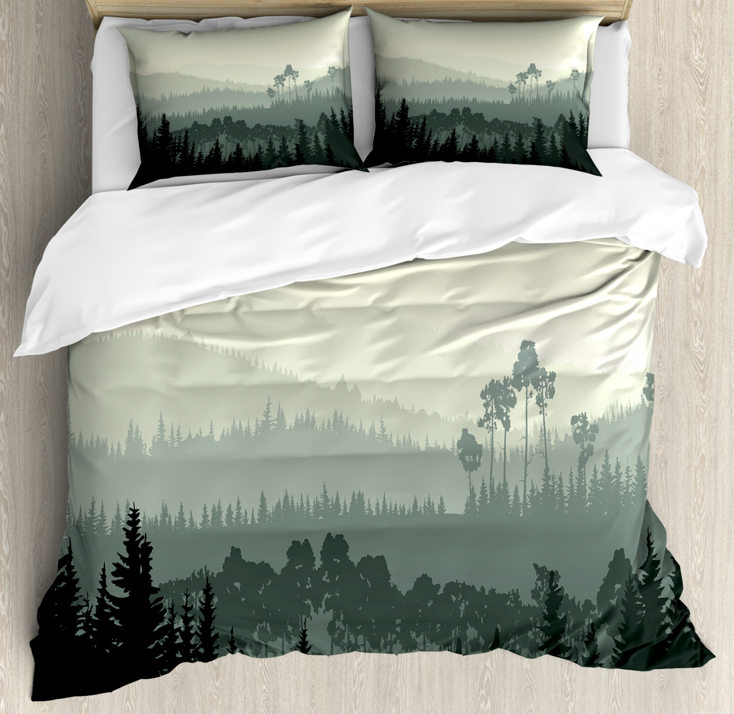 Scenery Duvet Cover Set with Pillow Shams Valley Mystic Forest Print