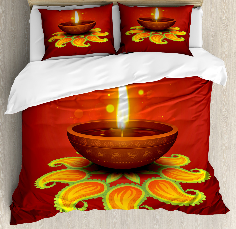 Paisley Duvet Cover Set with Pillow Shams Religious Diwali Print