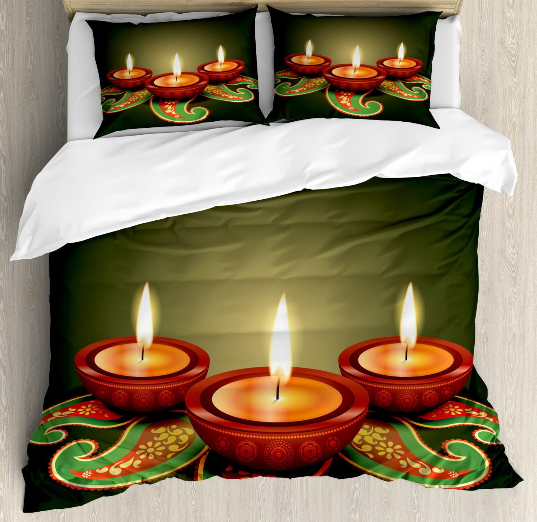 Diwali Duvet Cover Set with Pillow Shams Paisley Festive Print
