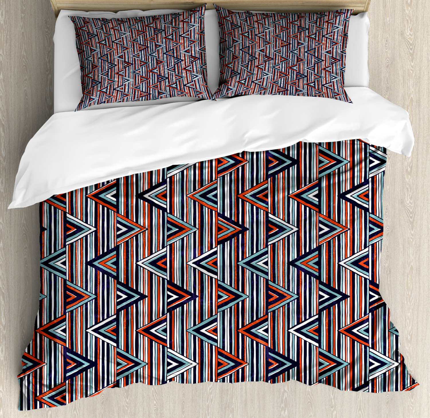 Tribal Duvet Cover Set with Pillow Shams African Ethnic Striped Print
